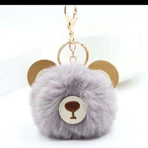 New With Tags Gray Teddy Bear Pom Pom Keychain
